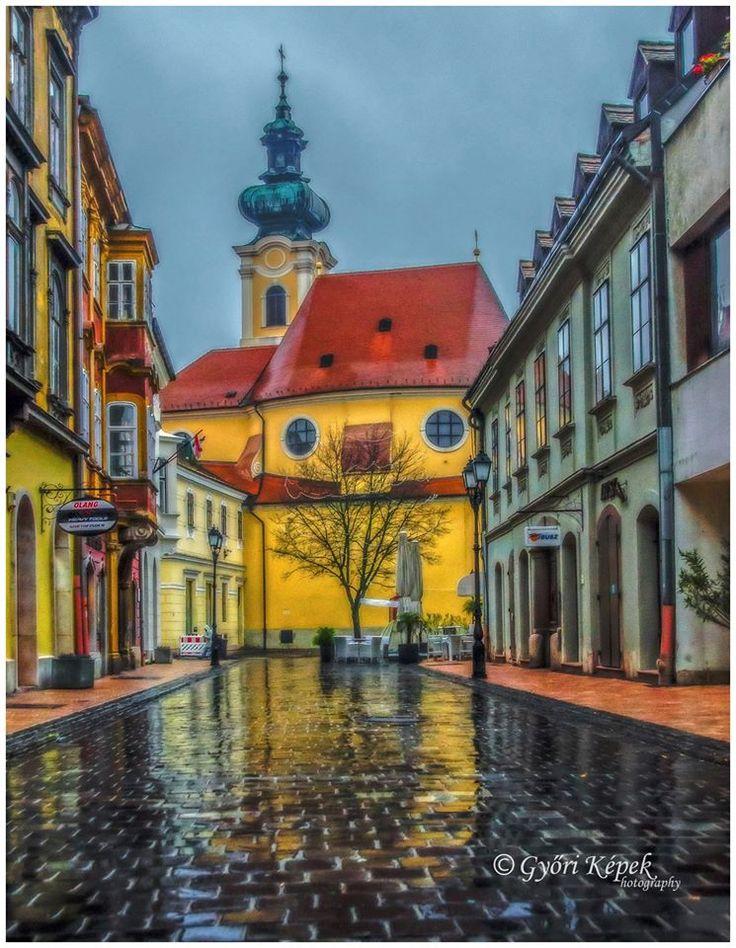 Győr esőben