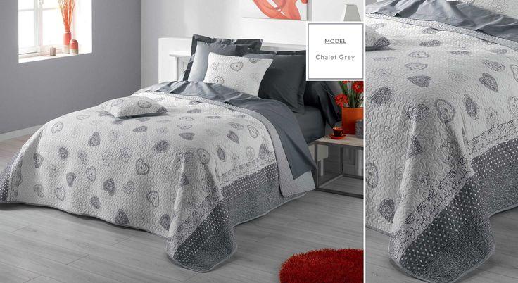 Francúzske prehozy s potlačou | Prehoz na posteľ s potlačou Chalet Grey | Bytový textil a dekorácie | dekorstudio.sk