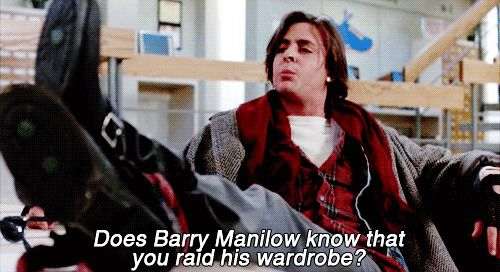 Does Barry Manilow know that you raid his wardrobe?      Lol
