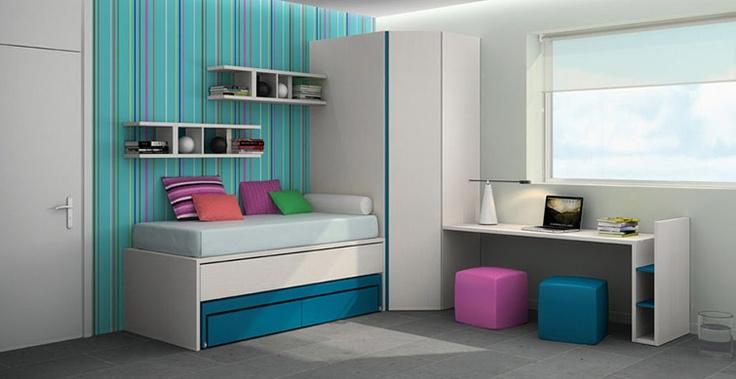 Habitació juvenil amb llit niu i armari recó. #mobles #Granollers