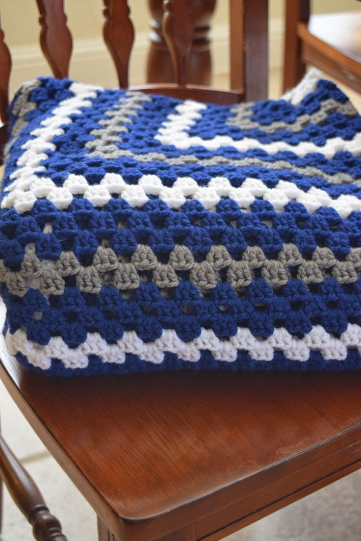 All Things Chateau de Savoy: Crochet Granny Square Lap Blanket in Dallas Cowboys Colors Free Pattern Written Out for Beginners