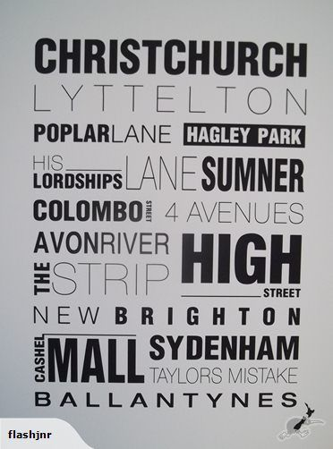 Kiwiana Word Art - Christchurch