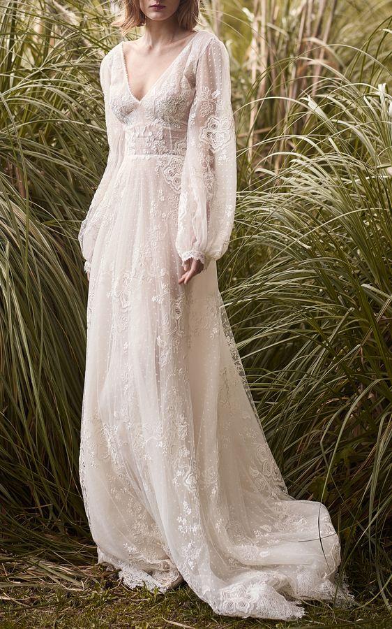 Costarellos Braut bestickte Spitze ätherischen Kleid   – Boho Wedding