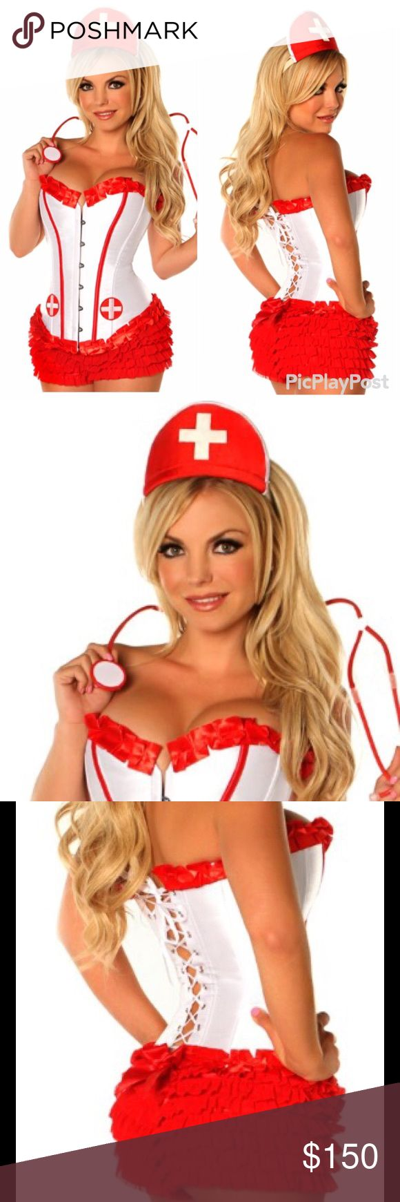 Sexy Nurse Costume Costume includes strapless corset with front busk closure, lace-up back for cinching and matching thong, Nurse Hat, Nurse Stethescope, Red Ruffle Panty. Ships within 1-2 business days Fashion Boutique  Other