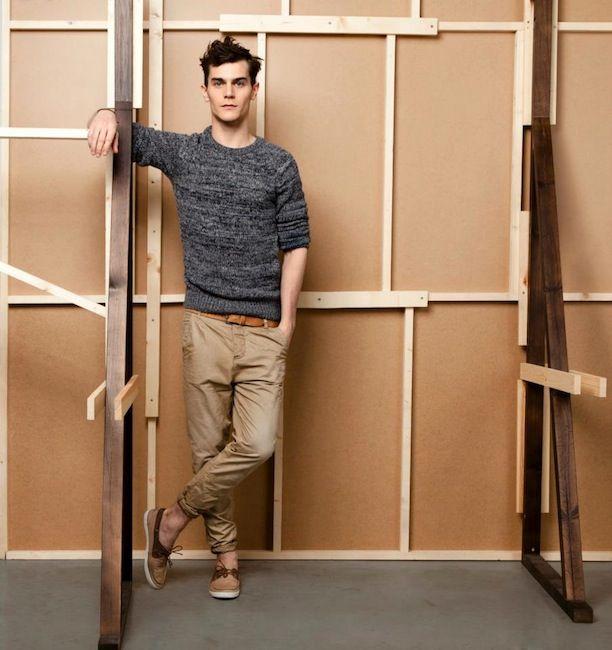 tan pants with salt & peper sweater