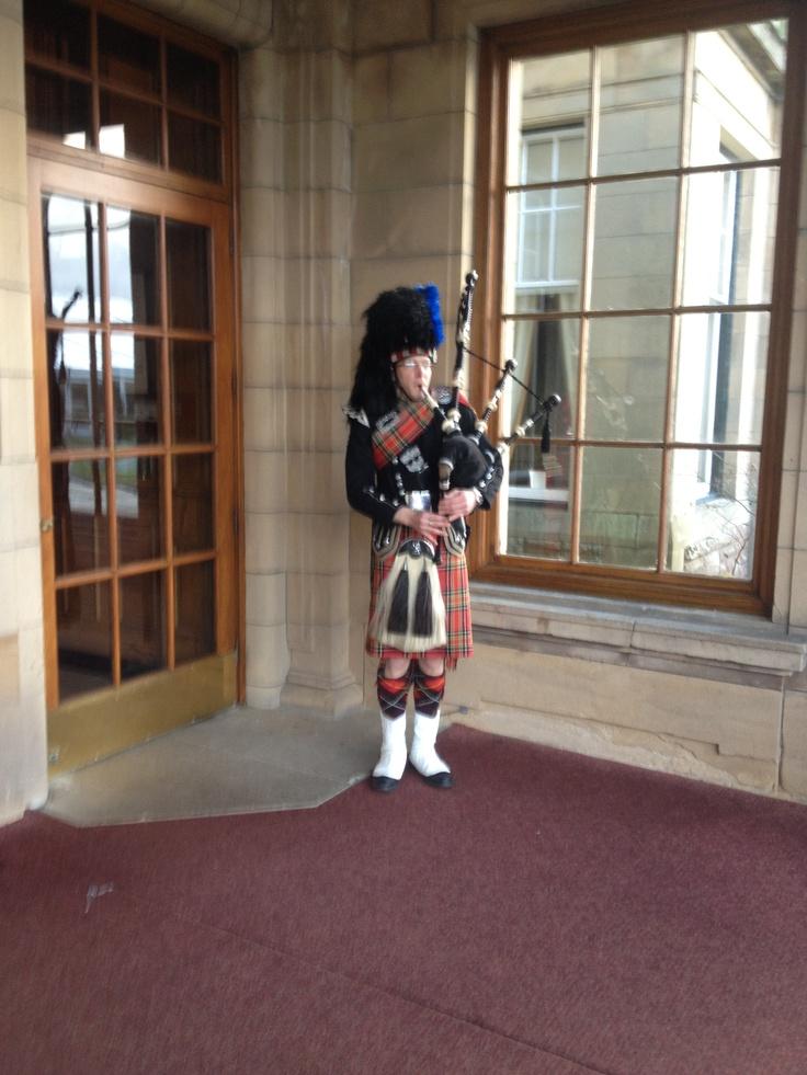 Bagpiper at Gleneagles Hotel
