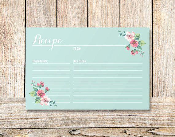 INSTANT Download - Printable Bridal Shower Recipe Card - Vintage Floral (mint)