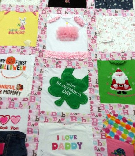 Memory Quilt Made From Baby Clothes. Great idea!!!..... Now I know what to with the baby clothes and bibs I didn't want to get rid of!
