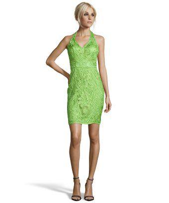 Sue Wong : emerald green woven floral detail halter dress