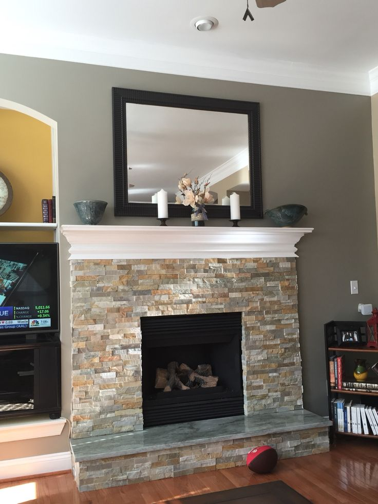 Ledge stone fireplace with granite hearth | Ideas for the ...