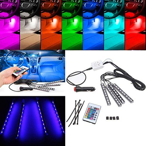 Ecosin 4pcs 9led Remote Control Colorful Rgb Car Interior Floor Decorative Lights Strip Http Ledlightingdistributio Strip Lighting Lamp Led Strip Lighting