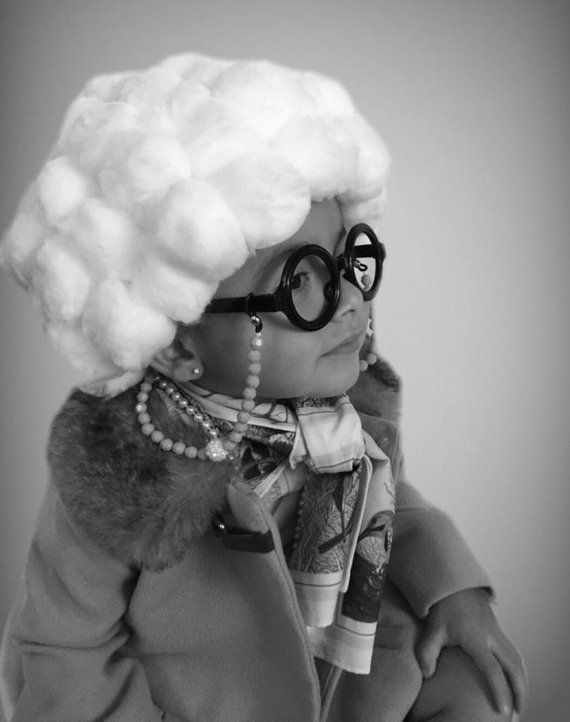 Grandma Costume Baby Granny Wig w toddler size glasses   chain- Old Lady  Props 072c8d2f99