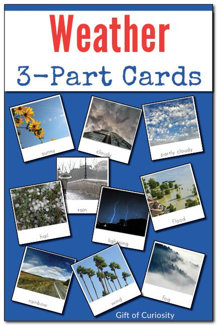 Montessori Weather 3-Part Cards for helping children develop their weather vocabulary. These cards feature pictures and labels for 15 different weather phenomena. These Montessori weather nomenclature cards are a great resource for a weather unit. || Gift of Curiosity