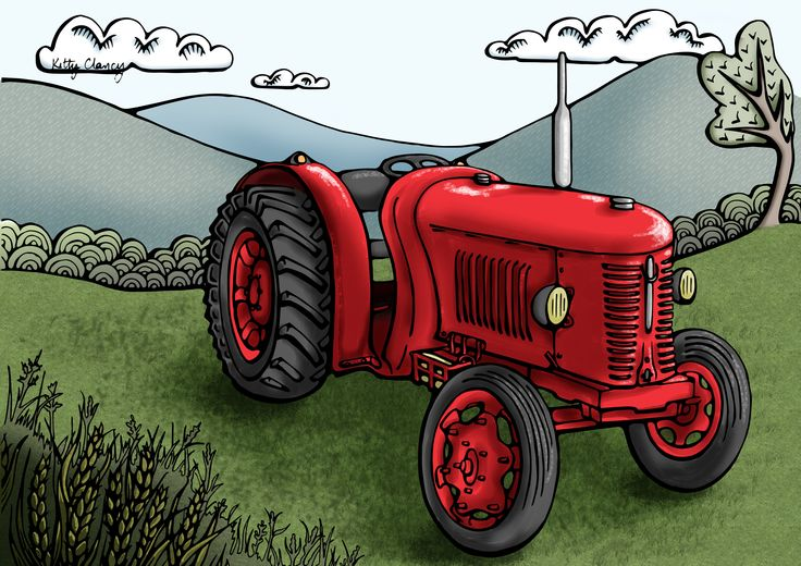 An illustration of a David Brown Super Cropmaster tractor first used in Ireland in the 1950s