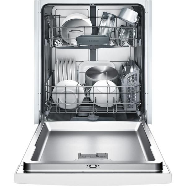 Bosch Ascenta 24 In White Front Control Tall Tub Dishwasher With Hybrid Stainless Steel Tub 50dba She3ar72uc The Home Depot Steel Tub Built In Dishwasher Thermador