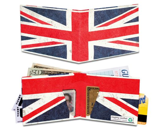"""Mighty Wallet""- Tear-resistant, water-resistant, expandable and recyclable. Made from Tyvek. These cool wallets resist tearing because of thousands of interlocking plastic fibers spun in random patterns, giving them incredible strength.    .......all things union jack"