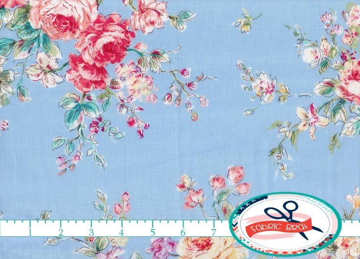 BLUE SHABBY CHIC Fabric By The Yard Fat Quarter Shabby Floral Rose 100
