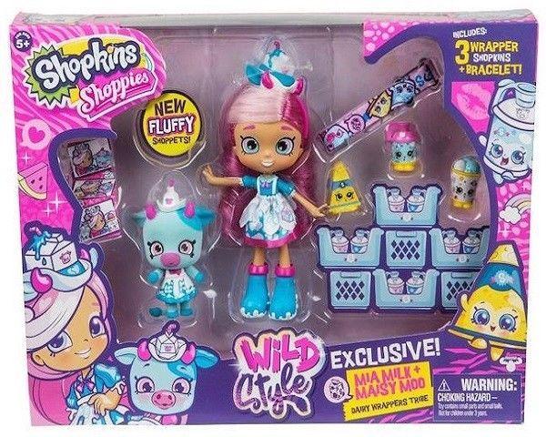 Shopkins Shoppies Season 9 Wild Style Mia Milk Doll + Maisy Moo Shoppet #Shopkins
