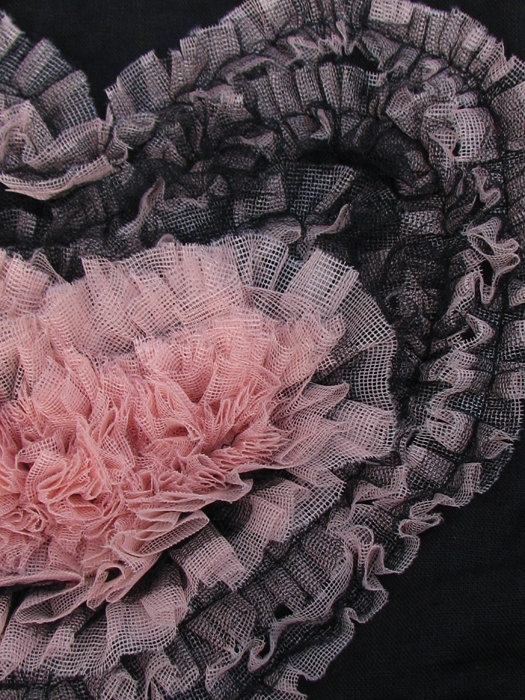 Black with  lightpink tulle heart handmade bag by Vvesna on Etsy,