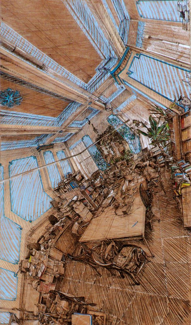 The Next M.C. Escher? The Disorienting Polyhedral Panoramic Perspective Drawings of Rorik Smith | Colossal