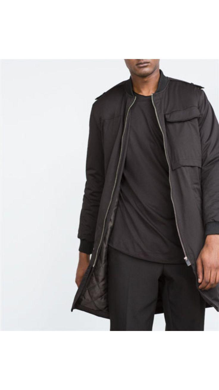 Zara long bomber jacket