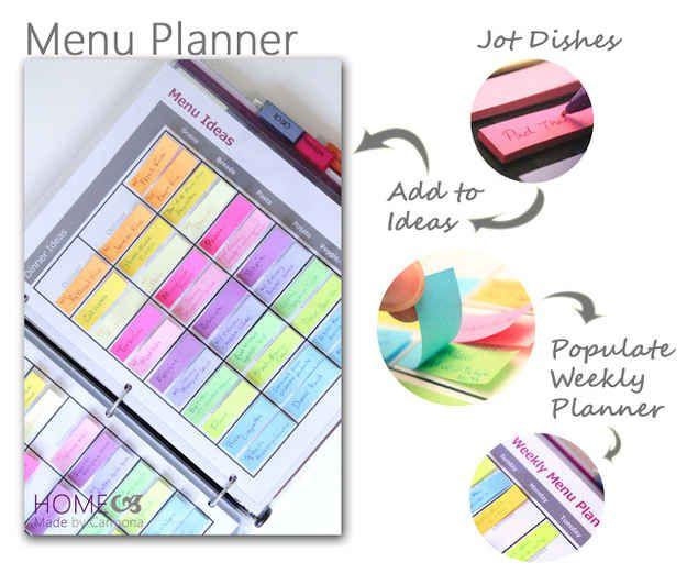 Crie um plano de cardápio com etiquetas e um fichário.