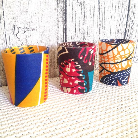 Wedding décor, Votive candle, Party, African party x 3 These three gorgeous votive candles have been covered in stunning African wax print, These