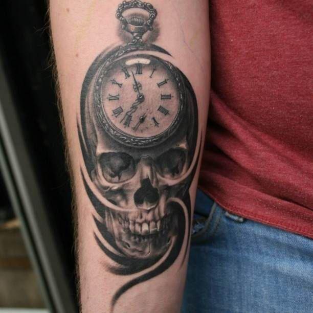Skull with pocket watch Tattoo   #Tattoo, #Tattooed, #Tattoos