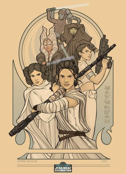 Star Wars Celebration Europe 2016 Exclusive Artwork. Available for pre-order for pick-up for attendees. Lithograph print by Karen Hallion featuring the women of Star Wars.