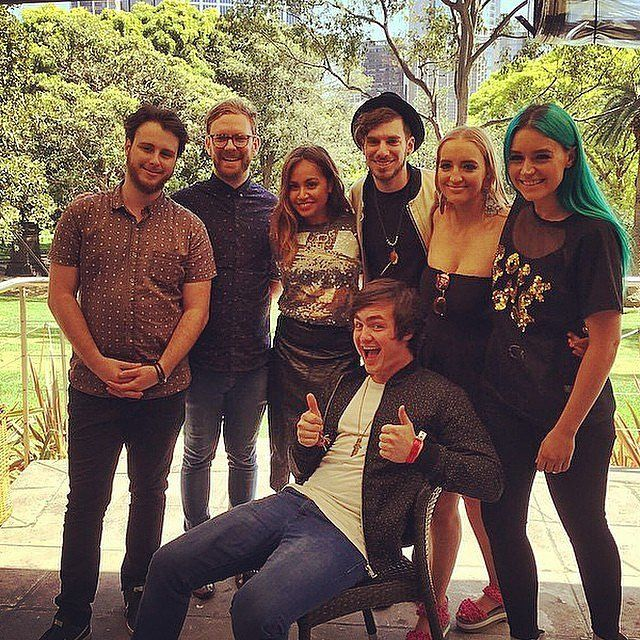 Jessica Mauboy posed with Brisbane band Sheppard during the ARIA Awards nominations event.