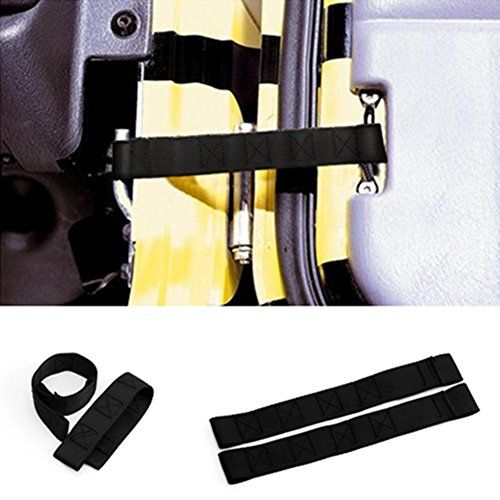 Black Pair (2Pcs) Front & Rear Adjustable Door Strap for Jeep Wrangler CJ JK JKU TJ YJ (Black)  A Brand New PAIR of Door LIMIT Straps to Help Keep Your Door Manageable by Letting You Open the Door to Your Desired Maximum Position.  Exactly as needed. Perfect Replacement for the Old Worn out Straps  It's Adjustable!!! & The Installation of the Strap was a Breeze  Fits: 1987 - 1995 Jeep Wrangler YJ /1997-2006 Jeep Wrangler TJ & Jeep CJ /Fits: 1976-1986 / 2007-2012 Jeep Wrangler JK  1 Yea...