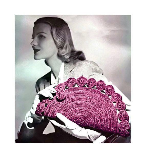 Vintage Crochet Pattern années 1940 demi-lune embrayage sac à main sac à main numérique Télécharger PDF