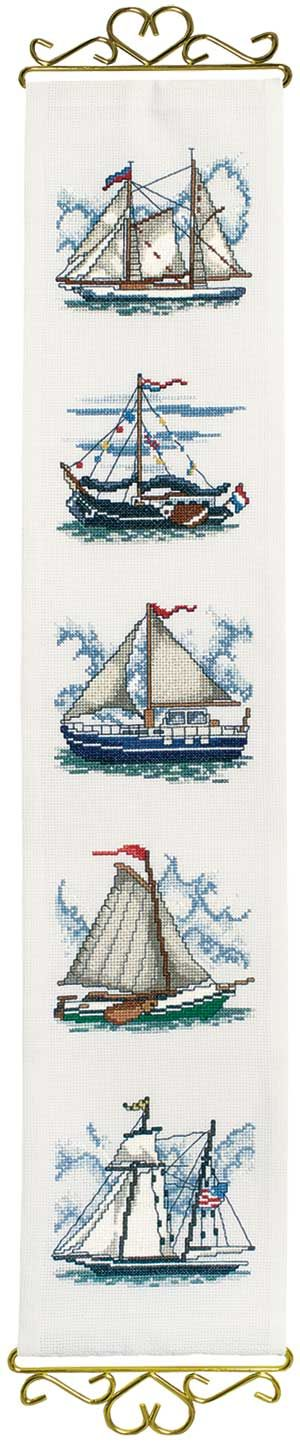 Schooner Bellpull, counted cross-stitch