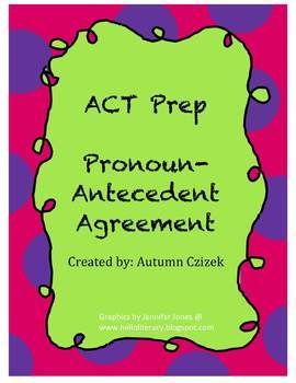 ACT Prep Pronoun-Antecedent Agreement PowerPoint #ACT #highschool #ACTPrep