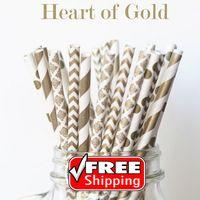 200 stücke Gemischt 4 Designs HERZEN VON GOLD Papierstrohe-Gold Chevron, Polka Dot, Streifen, Dusche, Damast, Party, Hochzeit, Weihnachten, Neujahr