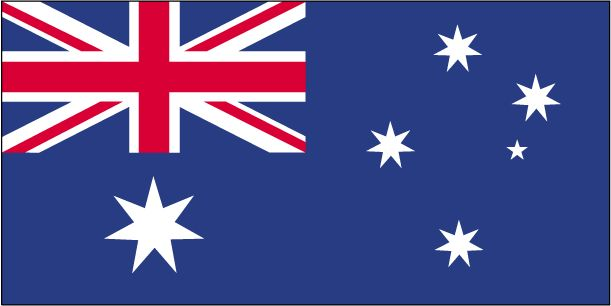 Geography of Australia: The Australia flag is blue with the flag of the UK in the upper hoist-side and a large seven-pointed star in the lower hoist-side known as the Commonwealth or Federation Star; on the fly half is a representation of the Southern Cross constellation.