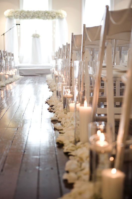 Down the isle, but with my jars of baby's breath instead of candles... and then ribbons on the chairs.