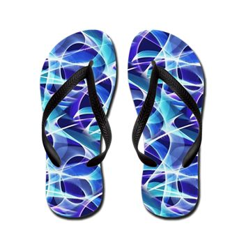 Waves Pattern on Dark Blue Flip Flops by Terrella