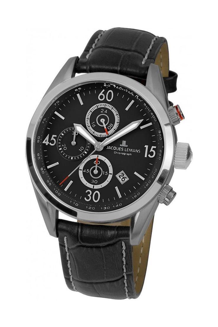 Jacques Lemans 40-6A Chronograph Uhr Herrenuhr Lederarmband Edelstahl 100m…