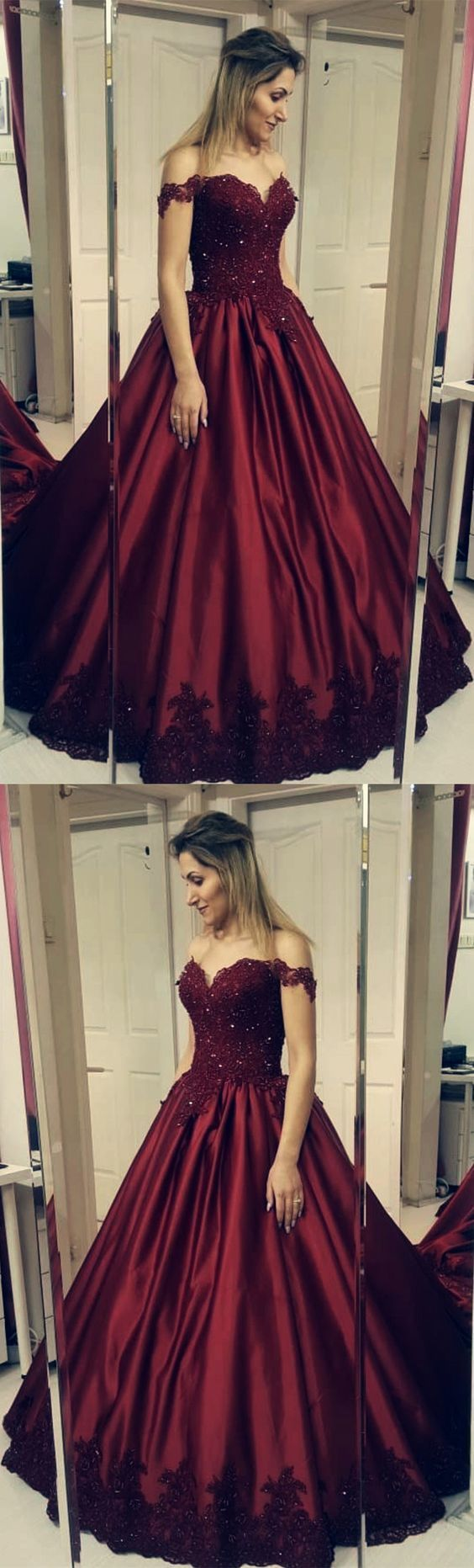 Burgundy Lace Appliques Ball Gowns Satin Wedding Dress Off Shoulder