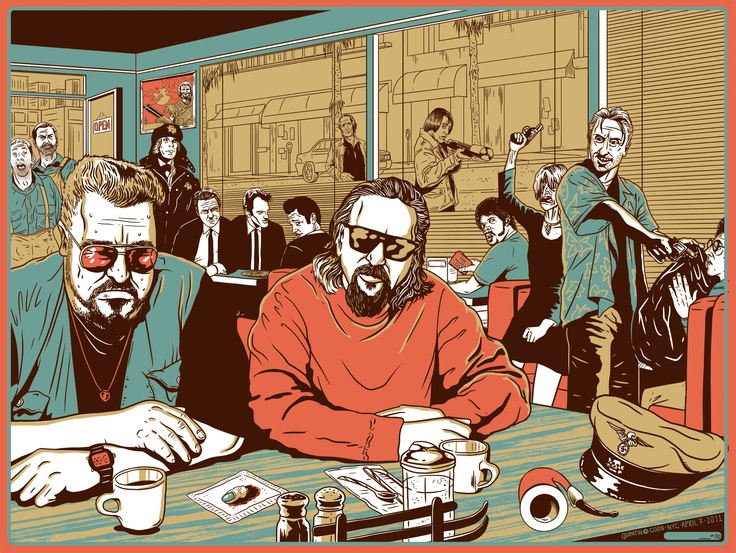 When he's not bowling, driving around, or having the occasional acid flashback, The Dude can be found hanging out in scenes from Quentin Tarantino films.   evANIMAL - Illustration and Design.: The Big Lebowski, Old Men'S, Quentin Tarantino, Movies Scenes, John Goodman, Wallpapers Backgrounds, Funnies Wallpapers, Coen Brother, Mr. Big