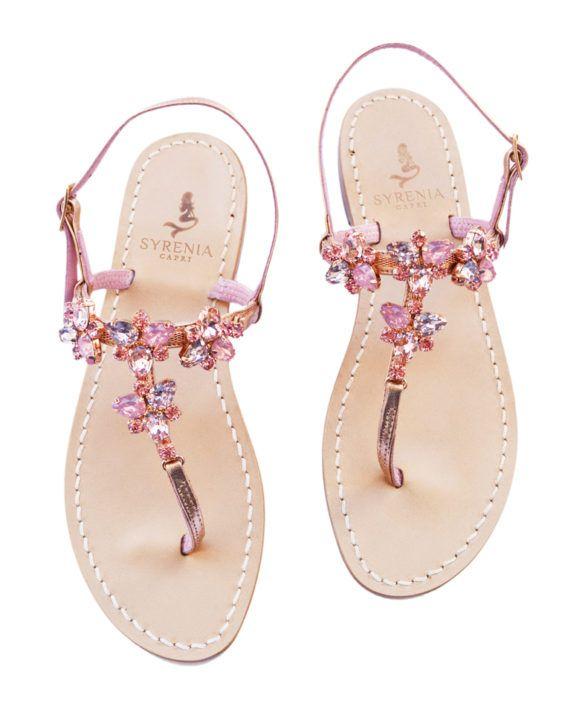 """Sandalo gioiello rosa - infradito modello """"Sidney"""" - pelle oro rosa"""
