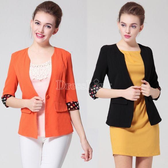 Ladies Fit Slim Plus Size Padded Shoulder One-button Suit Blazer Coat Jacket