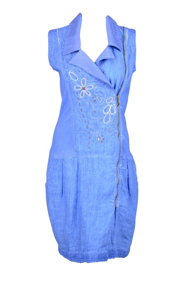 Angels Never Die Womens Denim Blue Beaded Zip Up Sleeveless Dress $225 New in Clothing, Shoes & Accessories | eBay