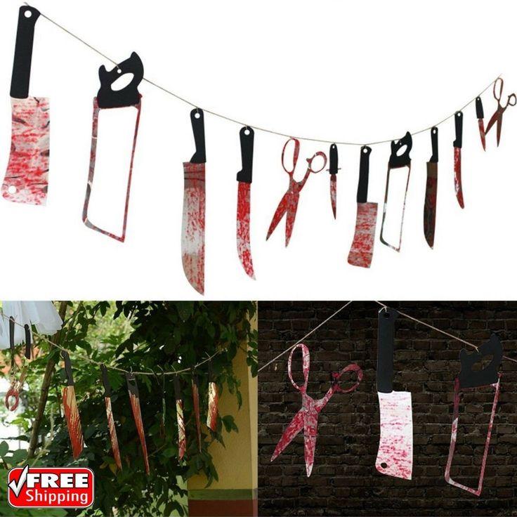 7.9Ft Indoor Outdoor Bloody Weapons Garland Props Halloween Decorations 12 Pcs   Home & Garden, Holiday & Seasonal Décor, Halloween   eBay!