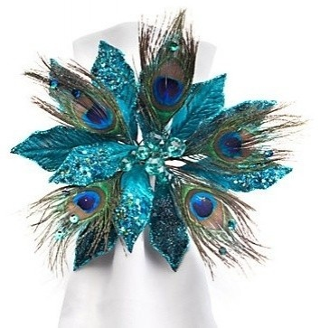 Jewel Poinsettia and Peacock Feather Napkin Rings