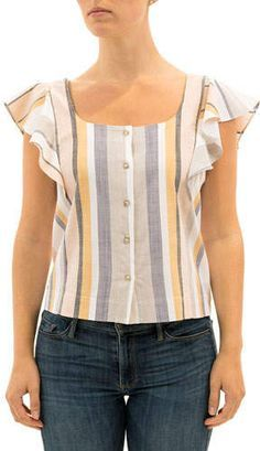 Striped Button-Front Flutter-Sleeve Top