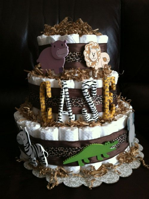 Safari Diaper cake with hand painted  lettering