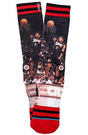 Stance Socks Socks NBA Legends Allen Iverson Socks in Black & Red