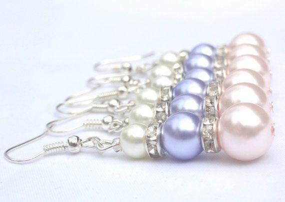 Wedding Earrings Pink purple & White Pearl  by Stunning Gems Jewelry Pink Wedding jewelry Wedding Jewelry Bridesmaid Jewelry Flower Girl Jewelry Bridesmaid Jewelry Gift Flower Girl Jewelry Gift